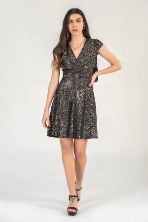 Cap Sleeve Sequin Mini Dress in Gold