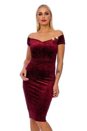 Wine Cap Sleeve Velvet Bodycon Midi Dress