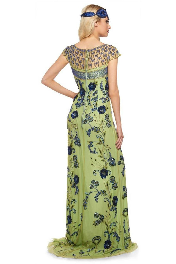 Elizabeth Vintage Inspired Maxi Dress in Lime