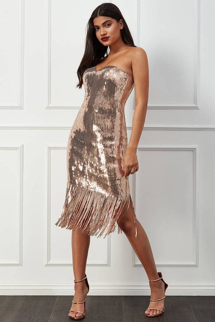 SEQUIN FRINGE BANDEAU MIDI DRESS