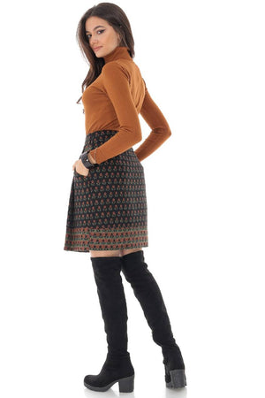 Short woollen skirt with contrasting hem and pockets, Aimelia - FR463