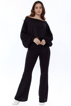 Cropped Off the Shoulder Ribbed Loungewear Set