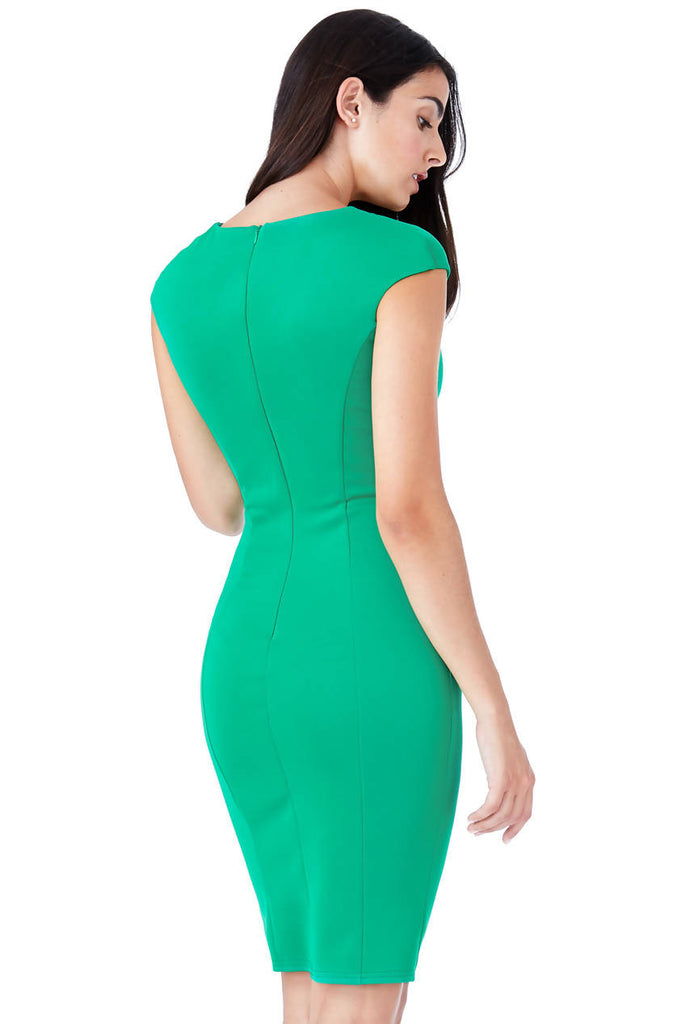 KEYHOLE FITTED MIDI DRESS WITH METAL BAR DETAIL
