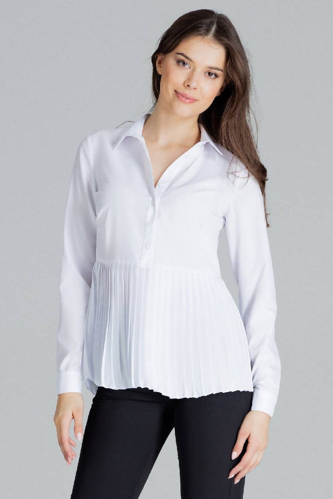 Shirt With Pleated Bottom