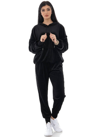 Soft Black Velour 2 piece lounge set - AIMELIA - TR432