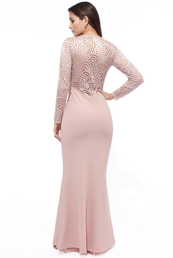 LACE BACK FULL SLEEVE MAXI DRESS