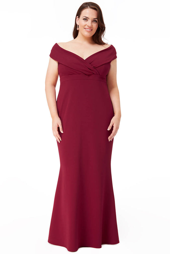 PLUS SIZE FRONT WRAP OFF THE SHOULDER MAXI DRESS