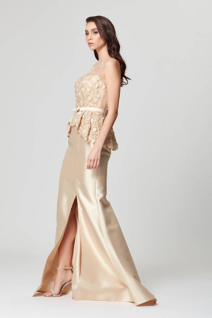 Belt and Guipure Detailed Maxi Dress
