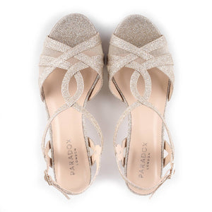 Glitter 'Nelly' Wide Fit Low Heel T-bar Sandals