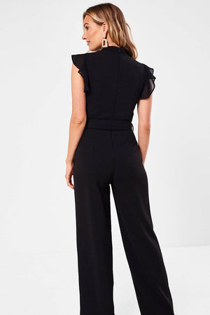 High Neck Jumpsuit with Frill Sleeves