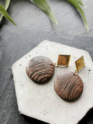 Gold Tone Wooden Disc Drop Earrings