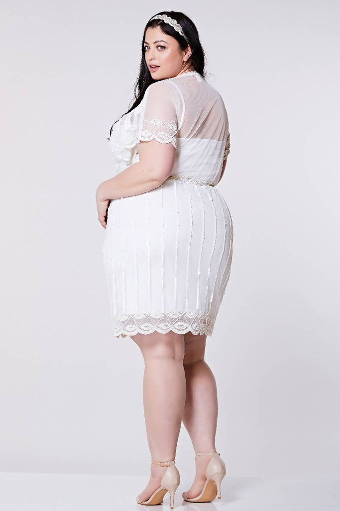 Hand Embellished Angel Sleeve Flapper Dress - Plus Size
