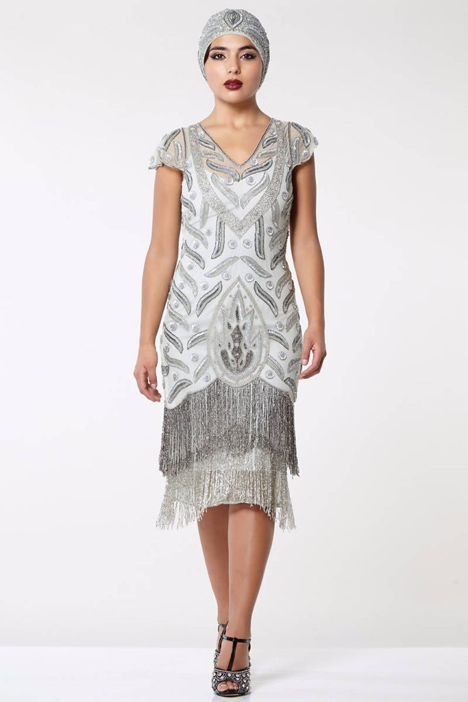 Vegas Vintage Inspired Fringe Dress - Hand Embellished