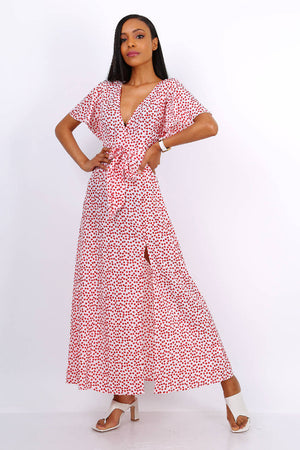 Wrap Front Split Leg Maxi Dress In White Daisy Dot Print