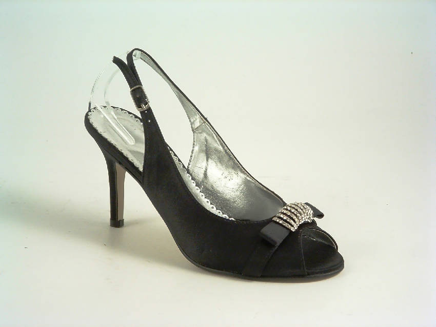 Diamante Black Satin Mid Heel Heel Peep Toe Sling Back Shoe