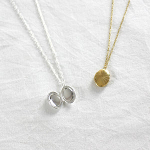 Locket Necklace in 18k Gold and Sterling Silver Plating