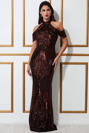 SEQUIN COLLAR WING MAXI DRESS