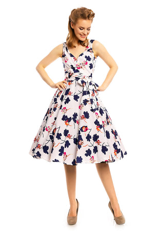 Ladies 1950's Retro Vintage Pin Up Swing Floral Dress White