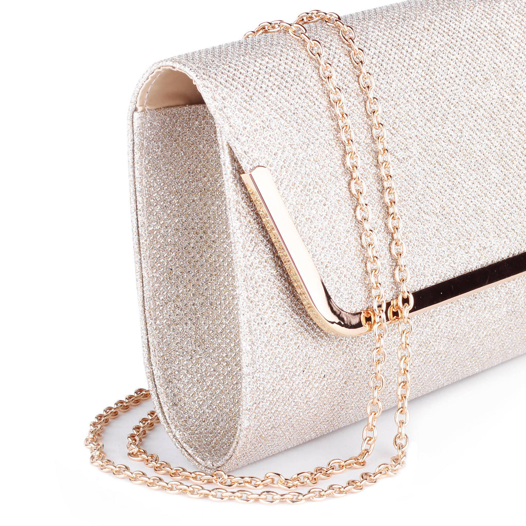 Denise Champagne Glitter Mesh Clutch Bag