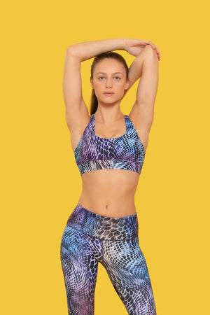 PASTEL SNAKE PRINT SPORTS BRA made with Recycled Plastic