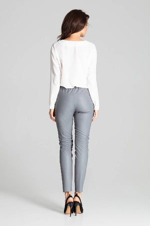 Grey Fitted Eco-leather Trousers