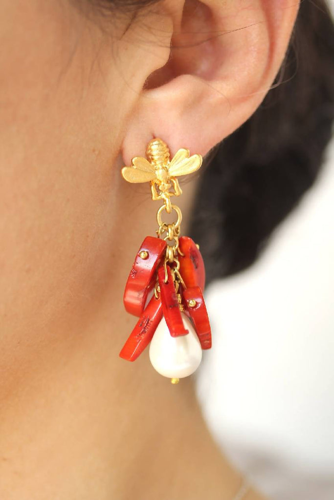 Coral Stud Eearrings