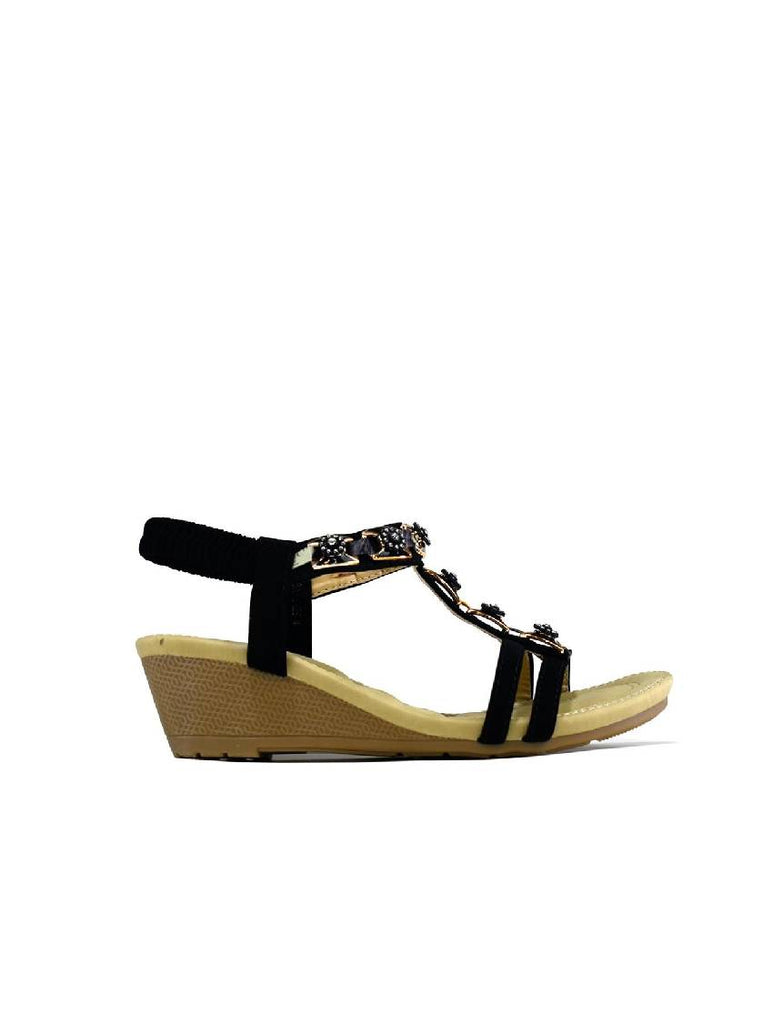 LSA-8128 C399-1 STONE WEDGE SANDAL - BLACK - PACK OF 12 - SIZE 3 TO 8