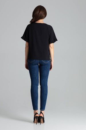 Black Short - Sleeved Blouse With a Frill