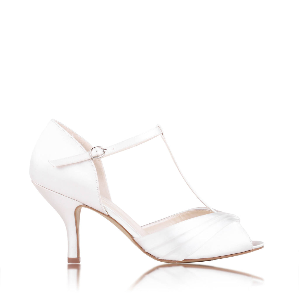 Satin 'Belvoir' Mid Heel Peep Toe T-bar Sandal