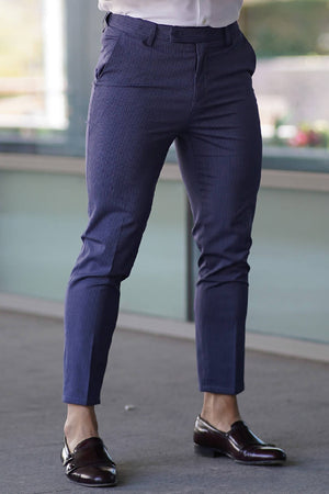 Navy Striped Elastic Waistband Trousers