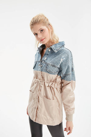 Women Indigo Jean Detailed Windbreaker Coat / Trenchcoat