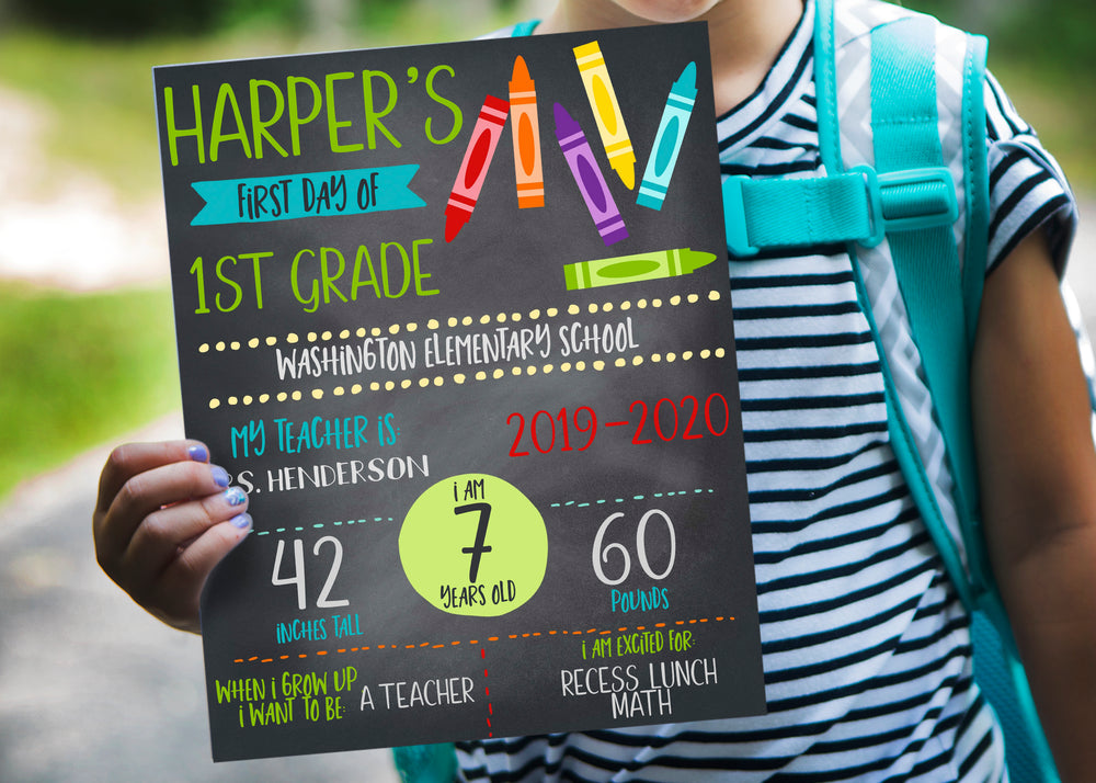 Crayons First Day of School Chalkboard Printable Sign