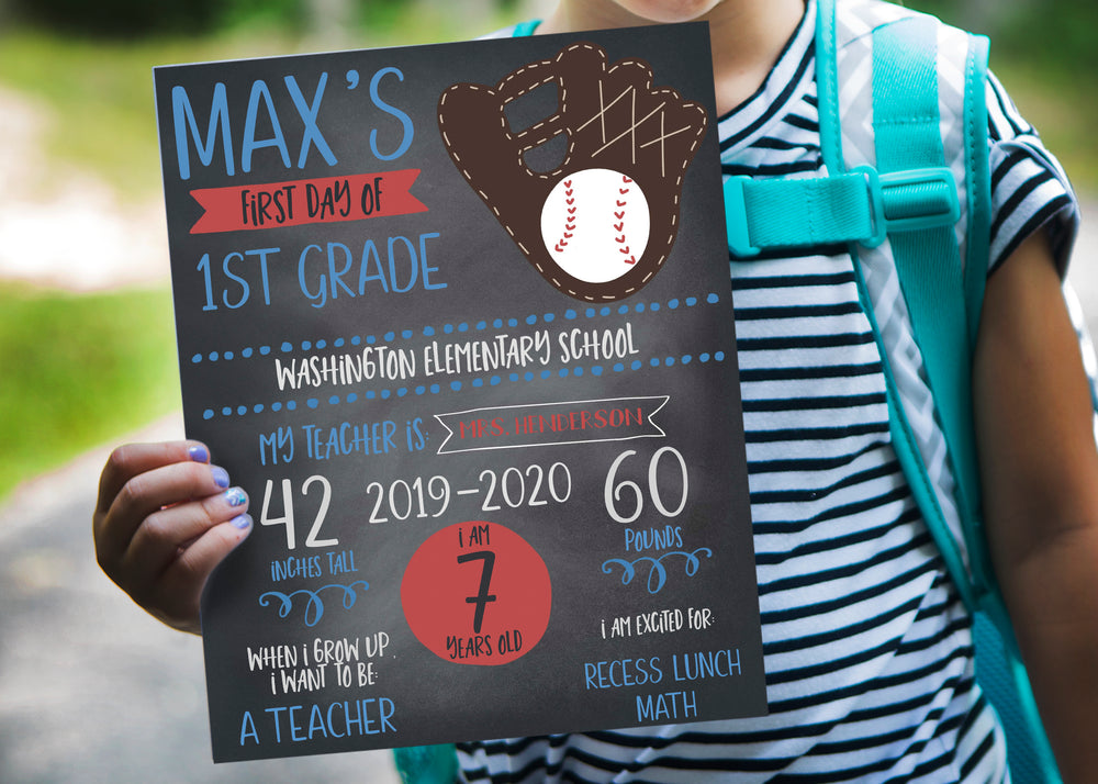 Baseball First Day of School Chalkboard Printable Sign
