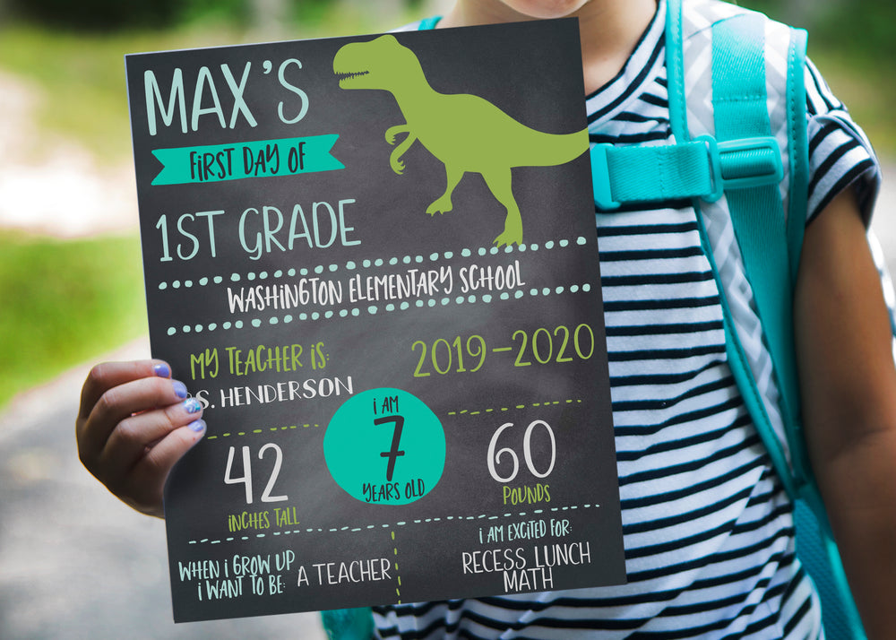 Dinosaur First Day of School Chalkboard Printable Sign