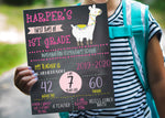 Llama First Day of School Chalkboard Printable Sign