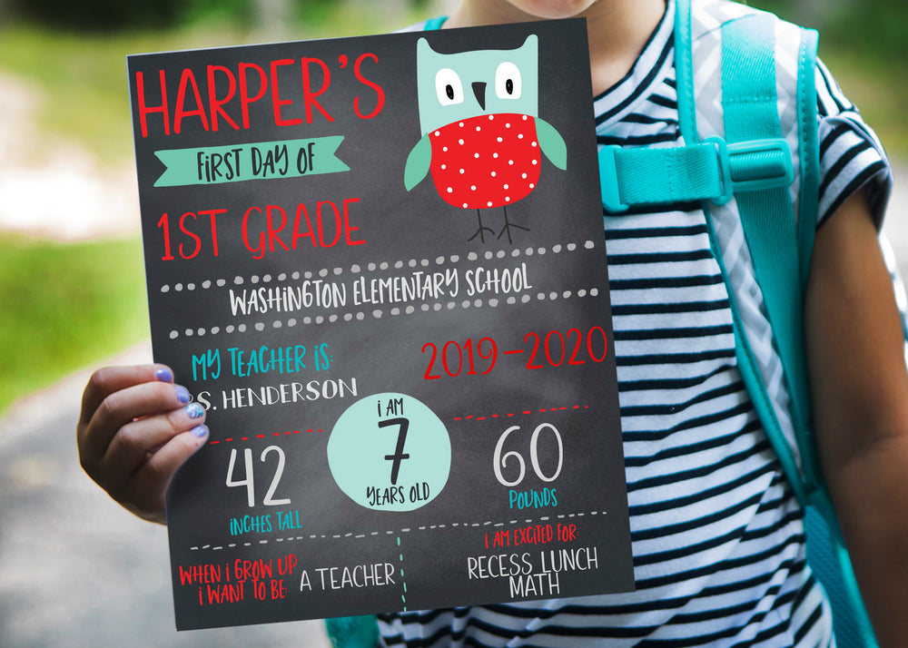 Owl First Day of School Chalkboard Printable Sign