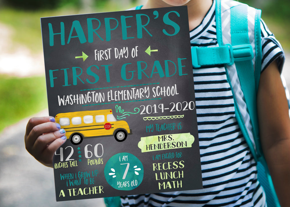 Back to School Printable Sign (watercolor aqua and green with school bus)