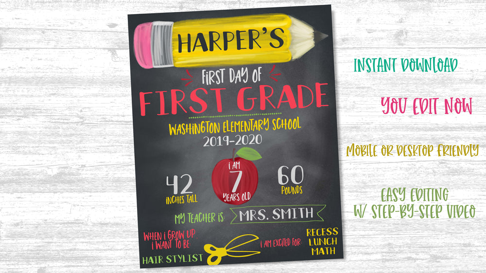 Back to School Printable Sign - Pencil
