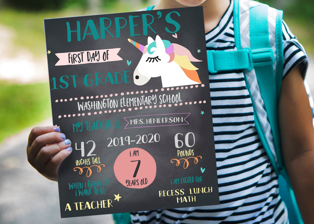 Unicorn First Day of School Chalkboard Printable Sign