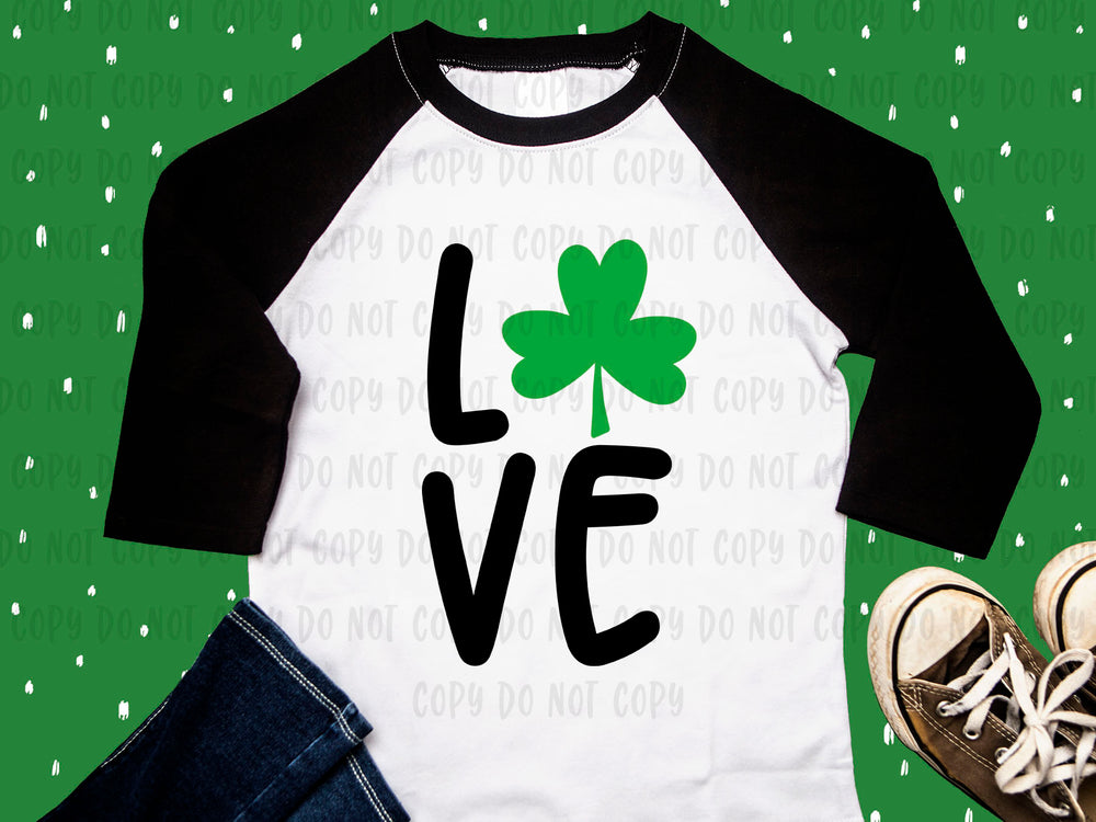 LOVE shamrock design file (dxf, eps, png, svg) - perfect for vinyl shirt making