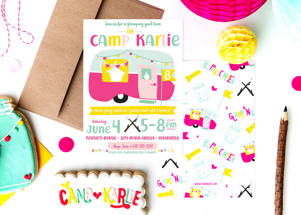 Happy Camper Birthday Party Invitation