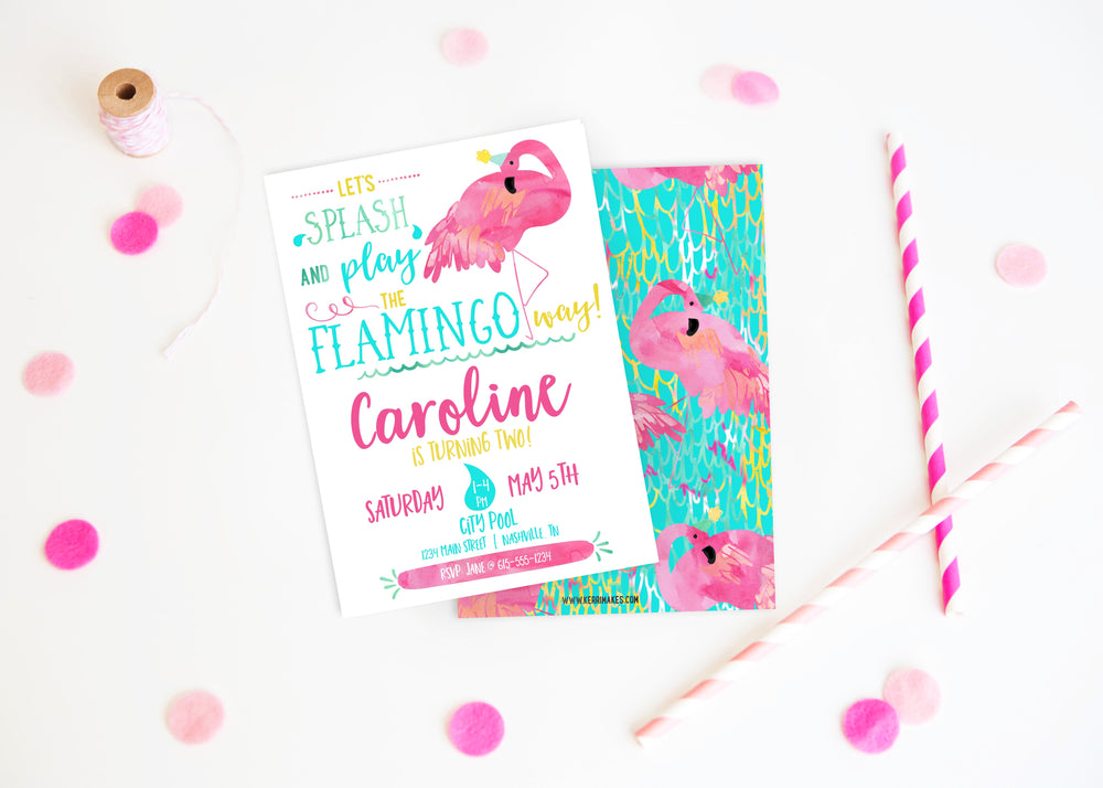 Flamingo Pool Party Birthday Party Invitation