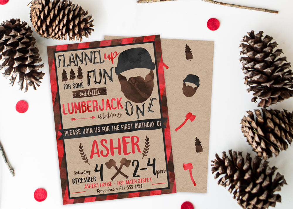 Little Lumberjack 1st Birthday Party Invitation