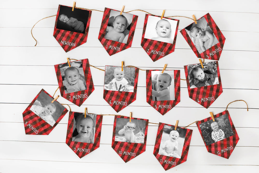 Lumberjack Monthly Banner for First Birthday Party