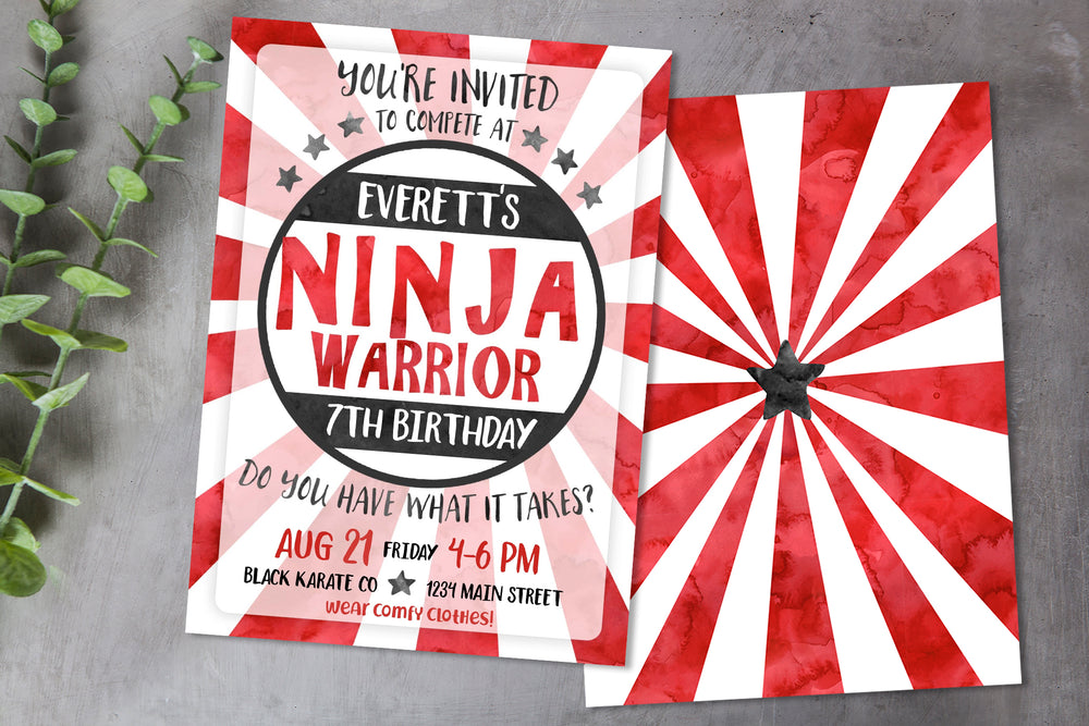 Ninja Warrior Birthday Party Invitation