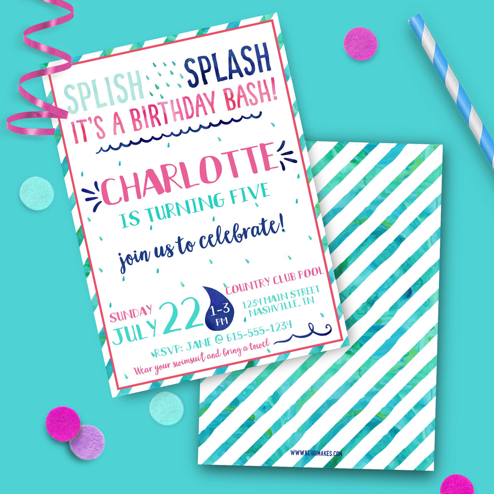 Girl Splash Birthday Party Invitation