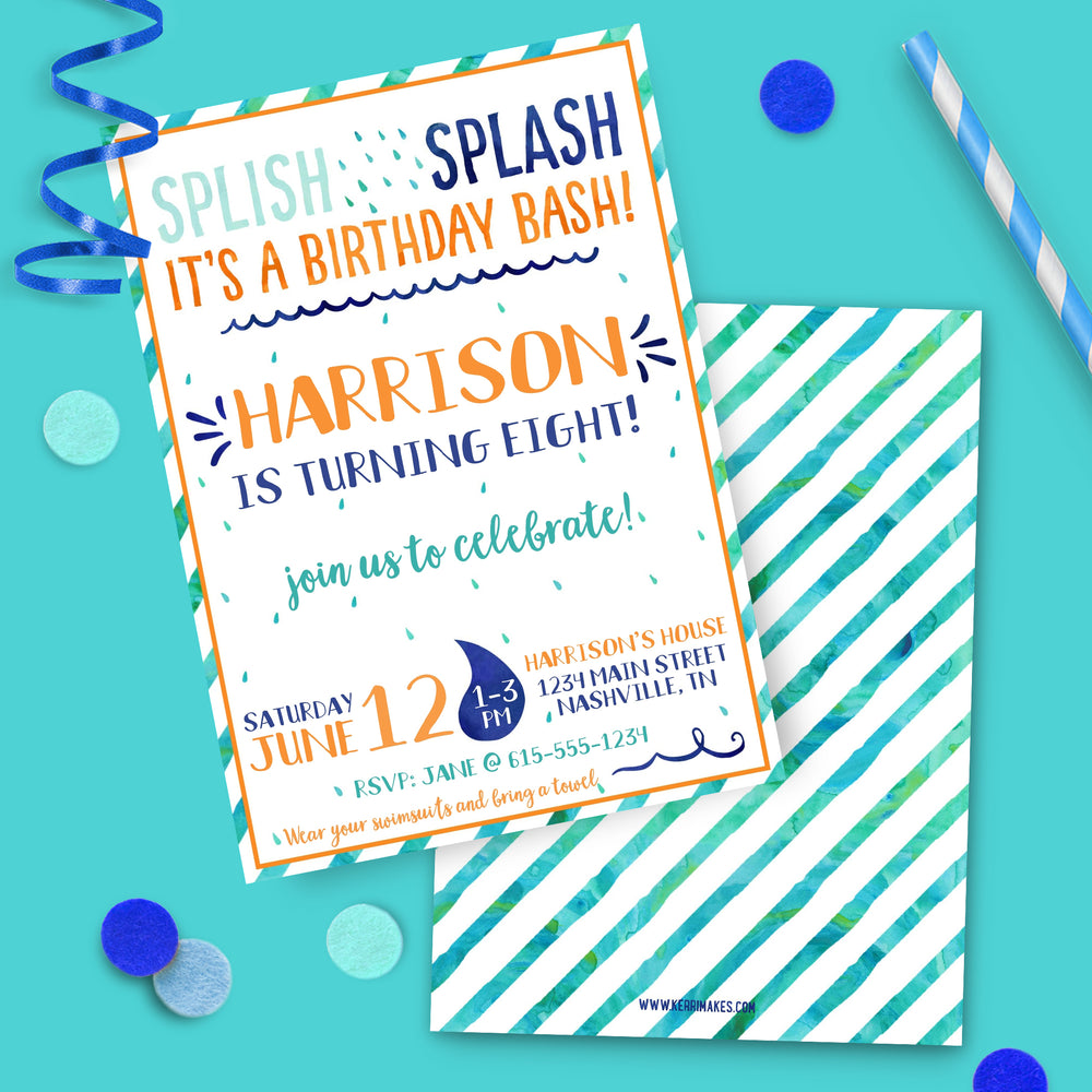 Boy Splash Birthday Party Invitation
