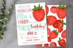 Watercolor Strawberry Birthday Party Invitation