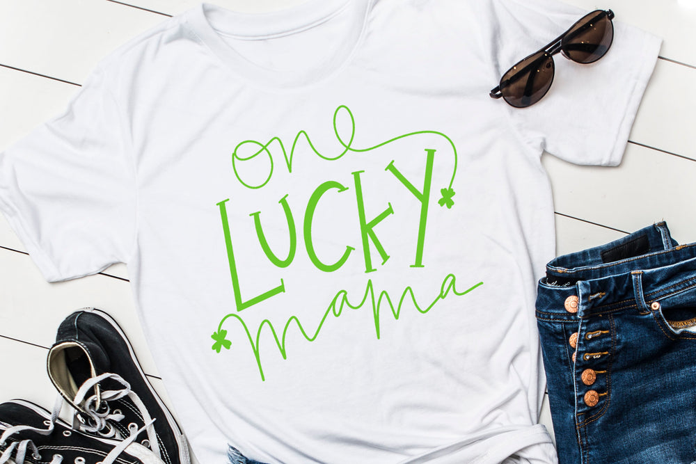 One Lucky Mama design file (dxf, eps, png, svg) - perfect for vinyl shirt making