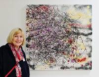 Alison with winning painting 'Let There Be Light', of the AbEx16 national competition.